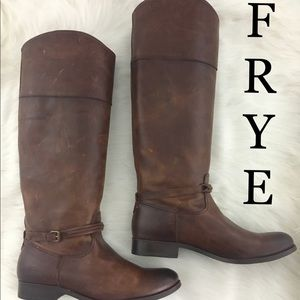 Frye Melissa Seam Tall Extended Brown Boot 7.5